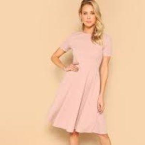 NWOT Off Pink Short Sleeve Skater Medi Dress Sz Sm